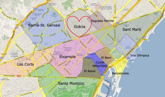 Here's a map of Barcelona